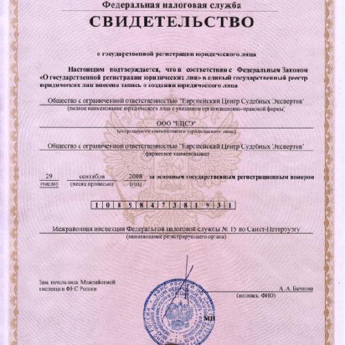 """Свидетельство о регистрации ООО """"ЕЦСЭ"""""""